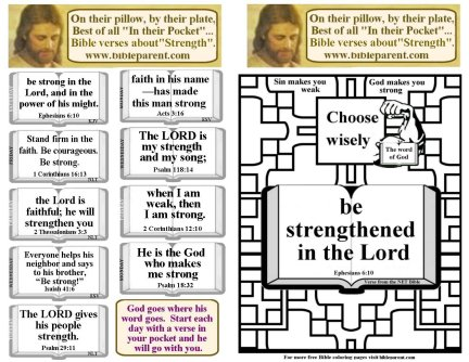 Bulletin Insert verses for strength